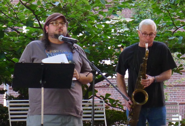 Carson Halley Christopher Luna and Rich Halley at Shemanski Park August 1 2011 by Toni Partington (2)