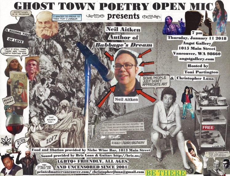 Ghost Town Poetry Open Mic January 11 2018