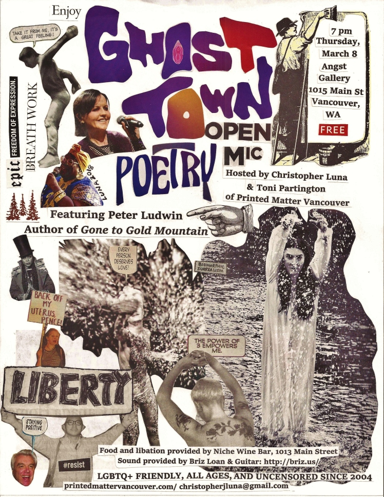 Ghost Town Poetry Open Mic flyer March 8 2018