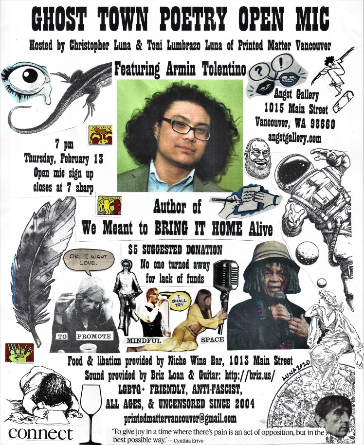 Ghost Town Poetry Open Mic flyer February 13 2020