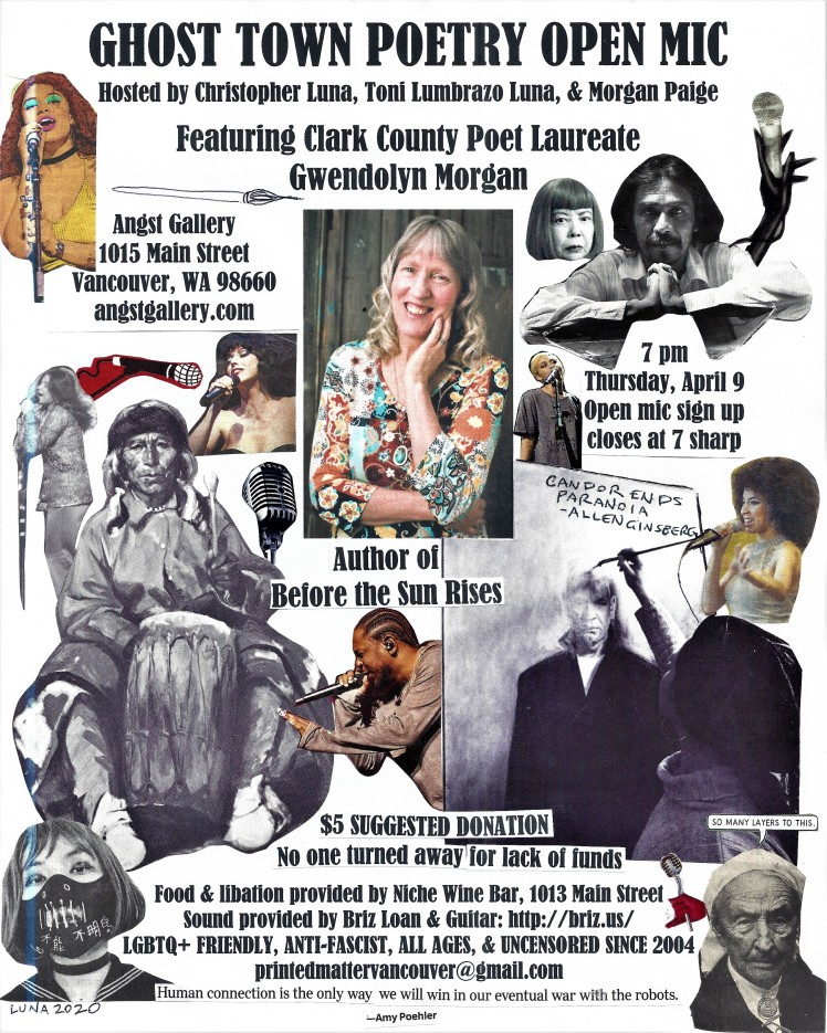 Ghost Town Poetry Open Mic April 9 2020 flyer